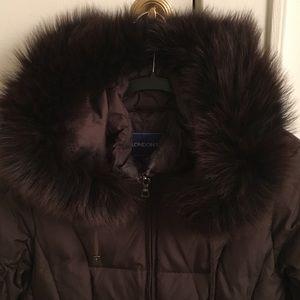 London Fog Down Fox Fur trim coat with hood.